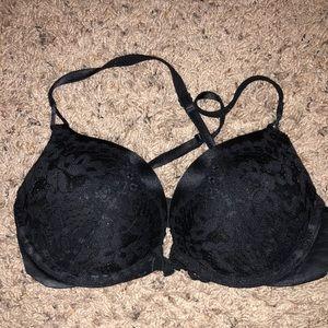 Black lace bombshell bra